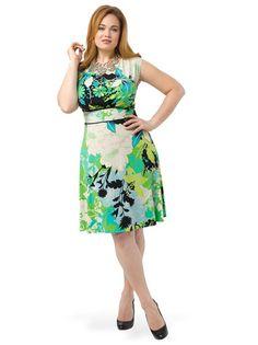 Green Floral A-Line Dress