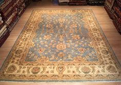Turkish Oushak Rug, Turquoise Blue in the Middle, 8'11'' x 11'10'' (270 cm x 360 cm), Anatolian Oriental Dining Room Rug, Living Room Rug by NoahsArkRugs on Etsy