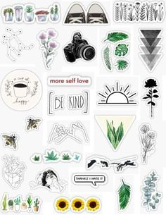 Minimalist Stickers, minimal sticker packs, minimal minimalist plants black green pops of color white and black converse succulents roses shapes coffee stars flowers sun sticker. Stickers Cool, Tumblr Stickers, Phone Stickers, Planner Stickers, Cute Laptop Stickers, Macbook Stickers, Calendar Stickers, Backgrounds Wallpapers, Aesthetic Wallpapers