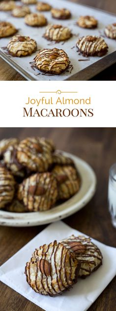 ***Joyful Almond Macaroons ~ are easy-to-make coconut macaroons with an Almond Joy twist. Adding almond extract to the cookie dough, and dipping and drizzling the cookies in chocolate take these cookies to a whole new level. Easy No Bake Desserts, Cookie Desserts, Fun Desserts, Cookie Recipes, Delicious Desserts, Yummy Food, Baking Cookies, Keto Cookies, Cookie Ideas