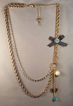 BETSEY JOHNSON BLACK BOW/BLUE CRYSTALS/PEARL GOLD TONE CHAIN NECKLACE #BETSEYJOHNSON #UNKNOWN