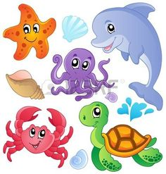 Illustration of Sea fishes and animals collection 3 - vector illustration vector art, clipart and stock vectors. Cartoon Sea Animals, Cartoon Fish, Cute Animals, Seahorse Cartoon, Decoration Creche, Sea Theme, Ocean Themes, Sea Fish, Sea Creatures