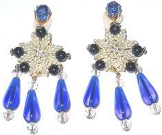 Stanley Hagler Gorgeous Blue Crystal Faux Pearl Rhinestone Clip Earrings   eBay