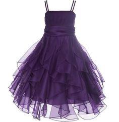 Ekidsbridal Elegant Stunning Ruched Tank Bodice Organza Flower girl dress Wedding Pageant Toddler Bridesmaid easter event 151s, Size: 8, Purple