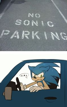 What does no sonic parking even mean?!?!?!? XD This made my brother role on the floor, laughing.
