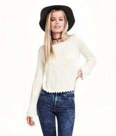 Fine-knit sweater, scalloped lace bottom | H&M US