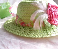 little girls Easter hat in cabbage green and pink by GingerlySpice, $20.00