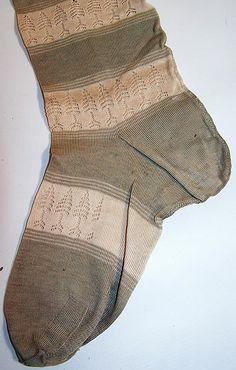 Victorian Ladies Green & White Striped Tree Thigh High Garter Stockings Socks
