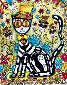 Mexican Cat Art Print, Day of the Dead Art, Watercolor Mixed Media, Skeleton Cat, Original Art Print, 8 x 10. $20.00, via Etsy.