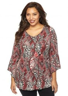 New Directions  Plus Size Bell Sleeve Tunic