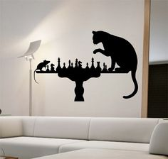 Cat Mouse Wall Decal PLAYING CHESS Sticker Art Decor Bedroom Design Mural  Cute Animal Lover Interior Design Funny Cute Love Home Decor