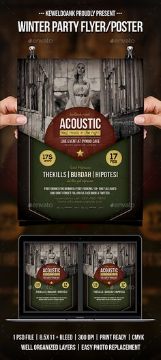 #Acoustic Concert Flyer / Poster - #Concerts #Events
