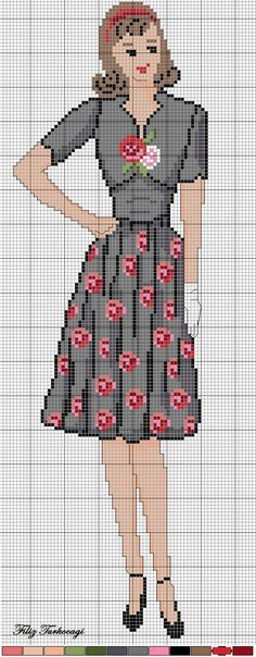 0 point de croix femme robe noir fleurs rouges  - cross stitch lady in black and red flowers dress: