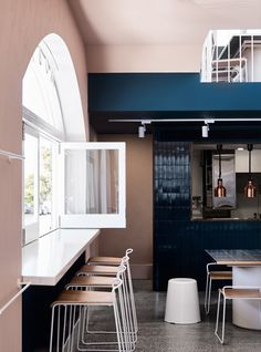 This is not: Another café This is: Armadale's new local Established, sharp and friendly, Moby's personality takes cues from its existing late 70's shell. Celebrating the curve, iconic arched windows lining the corner façade frame the punches of Tuscan pink render and block teal within the interior. Friendly and approachable, this new all-day destination café is right at home in it's Armadale neighbourhood. Photography: Sharyn Cairns