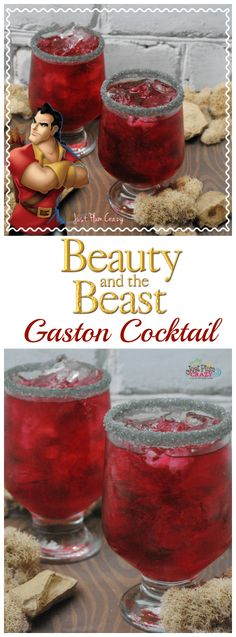 Gaston, the handsome, but shallow villager who woos Belle in Beauty and The Beast, is who we are featuring today with a Gaston Cocktail recipe. #cocktaildrinks