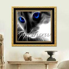 Diy 5D Diamond Embroidery Mosaic Blue Eyes Cat Painting Cross Stitch Home Decor