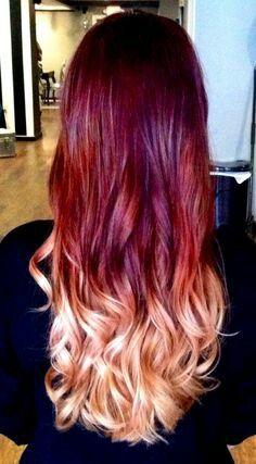Ombre red and blonde