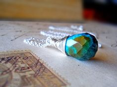Turquoise Pendant Necklace Sterling Silver Wire by waterwaif, $50.00