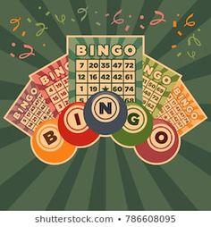 Retro vintage illustration of bingo game cards and balls Bingo Games, Card Games, Game Cards, Video Games List, Video Games For Kids, Free Bingo Cards, Cupcake Card, Living At Home, Casino Theme