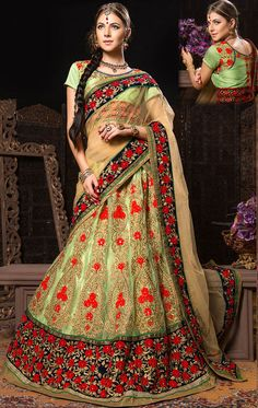 HSPHYP6006 Lovely Neon Green Designer Bridal Lehenga Choli