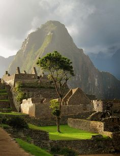 Late afternoon sun at Machu Picchu, Peru.