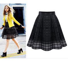 80b26edb16fac women summer PLUS size black organza check skirt midi gauze flare dress  XL-5XL