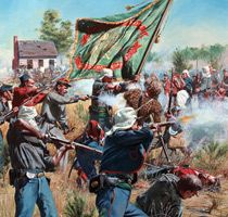 First Battle of Bull Run. (July 21, 1861) Fought at Manassas Junction, Virginia, was considered the first major land battle of the Civil War. The battle started when about 35,000 Union troops marched from the capital in Washington, D.C. to attack a Confederate force of 20,000 along a river called Bull Run. The Confederacy mostly were defensive until they rebelled allowing them to march into Washington. The Confederate victory gave the South confidence and shocked the North.
