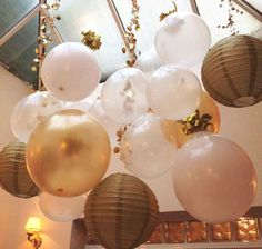 Cute ballon and Chinese lantern idea  New Years Eve Dinner New Year's Party Ideas | Photo 3 of 19 | Catch My Party