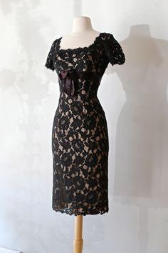 1950s Black Lace Wiggle Dress, at Xtabay Vintage.
