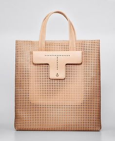 Perforated Leather Tote | Ann Taylor
