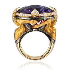 Couple Ring in yellow gold, amethyst and diamonds from the Versailles collection by Magerit, Spain.