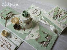 Explosionsbox zur Hochzeit mit Torte und viel Schnickschnack.  In Vanille Pur und Pistazie #stampinup #hochzeit #verpackung