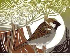 I chose this house sparrow linocut, by Pam Grimmond because the plants in the background are similar to the plants featured in Sue Brown's and Angie Lewin's work Linocut Prints, Art Prints, Block Prints, Sparrow Art, Bird Illustration, Botanical Illustration, Illustrations, Tinta China, Linoprint