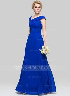 [R$ 380.74] Vestidos princesa/ Formato A Decote V Longos Tecido de seda Vestido de madrinha com Pregueado (007090205)
