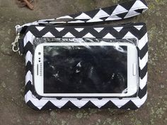 Cell Phone Wallet Black and White by StitchingInTheTrees on Etsy, $25.00