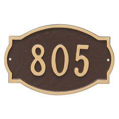 Montague Metal Classic Arch Extension Large Address Sign Wall Plaque - PCS-0066L1-W-BRG