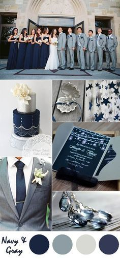 navy blue and gray wedding color ideas and pocket wedding invitations