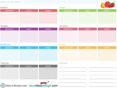 weekly menu plan printable