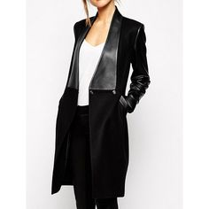 Fashionable Turn-Down Collar Long Sleeve PU Leather Splicing Coat For Women