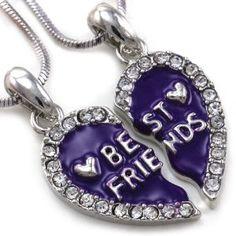 Best Friends Forever BFF Plum Purple Heart Two Pendant Necklace Clear Stone Fuchsia Enamel Teens Girls Ladies Women Engraved Letters
