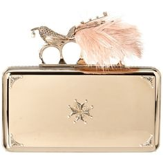 Alexander Mcqueen Alexander Mcqueen Metal Bird Box Clutch (400426001) (€1.610) ❤ liked on Polyvore featuring bags, handbags, clutches, bolsas, purses, multi, beige clutches, beige purse, man bag and embellished handbags