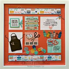 Wouldn't you LOVE this beautiful sampler in your craft room? This fun home decor piece combines 2 of my favorite sets, Crafting Forever & It Starts With Art! Box Frame Art, Shadow Box Frames, 3d Paper Crafts, Diy Crafts, Candy Cards, Craft Box, Craft Items, Scrapbooking Layouts, Craft Fairs