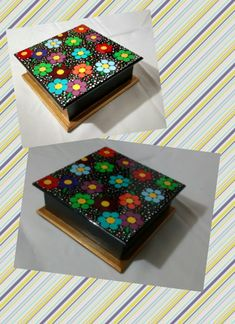 SERVILLETERO - COFRE FLORES Mosaic Projects, Craft Projects, Painted Wooden Boxes, Dot Art Painting, Step By Step Painting, Mandala Art, Mosaic Art, Decorative Boxes, Dots