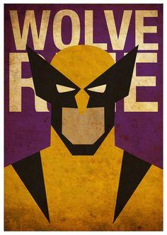 Vintage Minimalist Wolverine Poster A3 Prints by MyGeekPosters