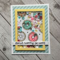 Lawn Fawn - Donut Worry, Stitched Rectangle Frames, Everyday Sentiment Banners, Let's Polka in the Meadow paper _ super cute card by Sharna via Flickr