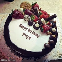 Write friend's name on fruity chocolate birthday cake and celebrate their birthday in a special way. They will love birthday cake with name.