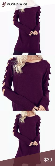 """Plum Ladder Sleeve Sweater Tunic Ladder-style cutouts along the upper sleeves bring a trend-savvy look to this sweater tunic that's an ideal companion for leggings and jeggings. Ribbing along the neckline, cuffs, and hem adds a polished finishing touch   BODY LENGTH:33"""" CHEST: 39"""" MEASURED FROM SMALL  100% ACRYLIC Sweaters Crew & Scoop Necks"""