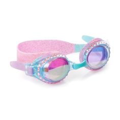 Iconic glittery style for any bling enthusiast! Features a traditional shaped clear blue frame infused with glitter and embossed with rhinestones around both lenses. Made from 100% latex-free silicone with adjustable pink, purple and blue color blocked strap and nose piece for a comfy fit. Features anti-fog lenses with UV protection and comes with a hard protective case. Sized for kids 3 to 15 years. Stylish Baby Clothes, Baby Clothes Brands, Toddler Boy Fashion, Toddler Girl Style, Smocked Baby Clothes, All That Glitters, Blue Glitter, Blue Topaz, Round Sunglasses