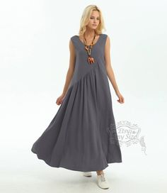 Anysize linen&cotton maxi dress with side seam pockets plus size dress plus size clothing Linen Dresses, Casual Dresses, Summer Dresses, Boho Fashion, Fashion Dresses, Clothes For Women Over 50, Maxi Robes, Dress Sewing Patterns, Mode Outfits