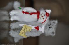 Купить ВЛЮБЛЕННЫЕ коты Вязаная игрушка - белый, кот, котик, коты и кошки, котенок